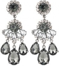 sweet deluxe BURGAS Orecchini gunmetal/black diamond/crystal