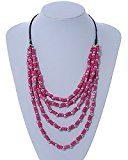 Multstrand, colore: Fucsia a perline in legno, colore: Nero con cordoncino in cotone, 60 cm x 80 cm, regolabile