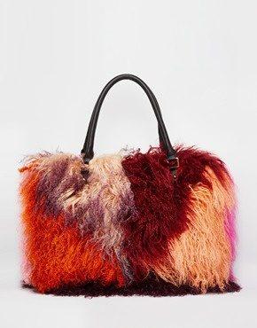 River Island - Maxi borsa in pelliccia mongola di alta qualità