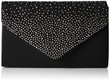 SwankySwansAbby Diamante Envelope Style Bag - Sacchetto donna , Nero (Nero), M