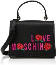 Love Moschino Borsa Calf Pu Nero - Borse Baguette Donna, Schwarz (Black), 13x17x11 cm (L x H D)