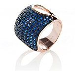 22ct Rose Gold Vermeil Micro Pave Statement Cocktail Cushion Ring - Blue Zircon size 7.5 (P)