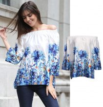 Blusa off-shoulder con motivo floreale