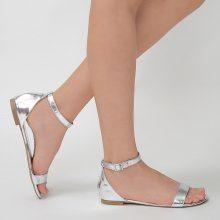 Sandali metallizzati con cinturino alla caviglia