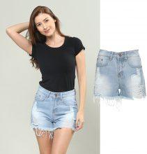 Shorts jeans con posteriore a conchiglia