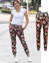 Pantaloni della tuta di raso floreali