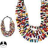 Collana da donna, fantasia, in perle naturali, colore: multicolore