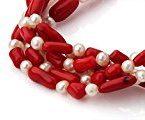 TreasureBay - Parure di collana e bracciale attorcigliati, con perle d'acqua dolce, con raffinata confezione regalo, colore: Rosso/Bianco