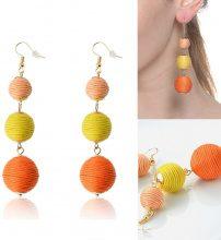 Orecchini a sfere di filo arancione