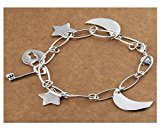 HMILYDYK - braccialetto placcato in argento Sterling 925, design semplice stelle, luna.
