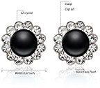 EVBEA® Costume Gioielli Nero Faux Pearl clip su orecchini fiore di cristallo orecchini da donna