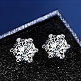 J.Rosée Orecchini a uomini e donne, zirconia cubico a forma di diamante, argento sterling 925/1000, ?5mm