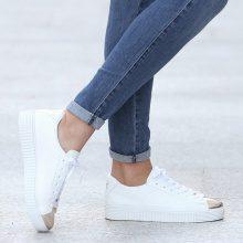Sneakers con punta metallizzata
