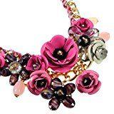 Nuovo Collana Da Donna Ragazza Stile Fiore Multi-colori Regalo Festa Girocollo Con Diamante Pendente