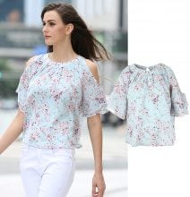 Blusa cold-shoulder a fiori