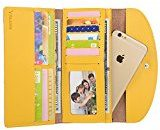 Yaluxe Donna pelle Multi Credit Card Cases Organizer Trifold Borsa adatto Iphone 6s(Confezioni Regalo)