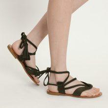 Sandali infradito con lacci e nappine