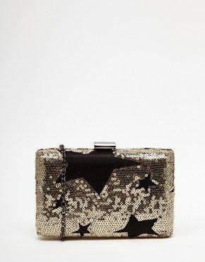 Glamorous - Pochette con paillettes dorate e motivo a stelle