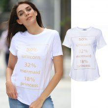 T-shirt con scritta unicorno