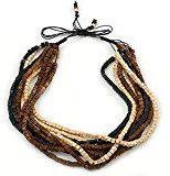 Filo multicolore, colore: Nero/Crema, in corda, regolabile, con perline, da 46 a 58 cm