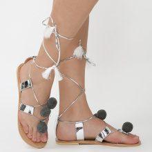 Sandali infradito metallizzati con pompon
