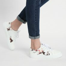 Sneakers con stampa a orchidee e farfalle