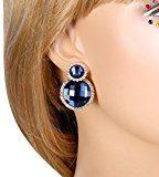 Clearine Orecchini Donna Artistico Moda Cristallo doppio cerchio Sposa Nuziale Anelli dell'orecchio Oro-Fondo Blu