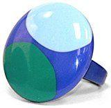 Jodie rose–Anello in blu con luce blu e verde cerchi–Taglia M