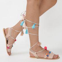 Sandali con fiori e nappine