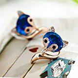 Merdia orecchini borchie lovely Fox created Crystal orecchini per ragazze regalo blu