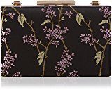 Dorothy Perkins Floral Satin Box Clutch - Pochette da giorno Donna, Black, 19x12x7 cm (W x H L)