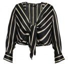 Missguided STRIPE TIE FRONT Camicetta black