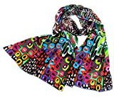 Prettystern - 160cm Feat colorata pittura Stampa sciarpa di seta grafica moderna - 3 colori