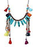 eManco Boemia di cristallo handmade perline nappa Asimmetria del pendente collane lunghe per le donne (multicolore)
