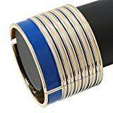 Larghezza: Blu/Bianco a strisce In smalto Bracciale rigido apribile, In metallo placcato In oro, lunghezza 19 cm