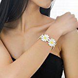 Margherita collana girocollo in pizzo bianco giallo fiore delicato Fashion placcato in oro rosa per le donne