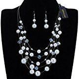 Jerollin donna collana di perle in resina bavaglino catena al collo dichiarazione collane orecchini gioielli moda set ciondolo collana costume co-locazione