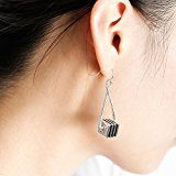 Silverage argento a righe triangolo goccia orecchini pendenti