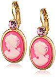 Donna-orecchini dorati Justwin parte plastica indora vetro rosa 3,5 cm - 11215Gemmenpi