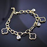 GWG® Chain Bracelet for Women 18K Gold Plated Black Pendants and White Crystals Charms