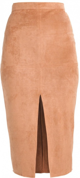 Missguided LONGLINE SPLIT Gonna a tubino tan  a27e23120bc8