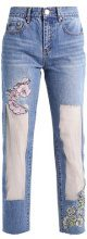 B&&B WITH ORGANZA AND EMBROIDERY - Jeans a sigaretta - mid denim