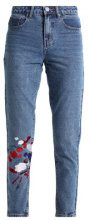 Lost Ink MOM WITH PAINTSTROKE EMBROIDERY Jeans baggy mid denim