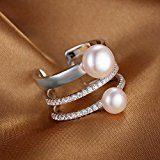 JewelryPalace Acqua Dolce Coltivata Perla Bianca 7-8mm Fascia Avvolgere Impilabile Anello 925 Sterling Argento