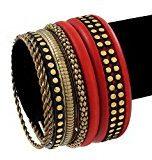 Brucia in stile Vintage, colore: oro, con brillanti incastonati, colore: Rosso carminio-Set di bracciali in legno, 7