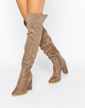 Daisy Street - Stivali color talpa sopra il ginocchio con tacco largo