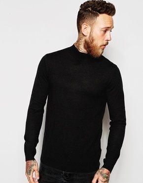 ASOS - Maglione nero in lana merino con collo alto