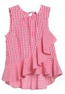 GINGHAM RUFFLE - Top - pink