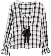 FIND Checked Tie Front  Camicia Donna, Multicolore (Black Mix), 48 (Taglia Produttore: X-Large)