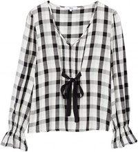 FIND Checked Tie Front  Camicia Donna, Multicolore (Black Mix), 40 (Taglia Produttore: X-Small)